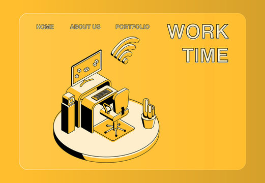 Office workplace vector illustration of isometric black thin line art on yellow background. Manager working place with computer notebook on table and web cloud internet technology
