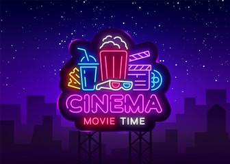 Movie Time Neon Logo Vector. Cinema Night neon sign, design template, modern trend design, night neon signboard, night light advertising, light banner, light art. Vector illustration. Billboard