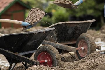 Gravel taking away by shovel