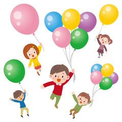 風船と子供達