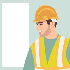worker  vector illustration  front side  flat style