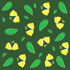 Lemon pattern vector. free space for text. wallpaper. background.
