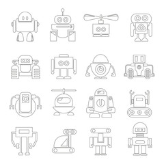 robot icons, outline icons