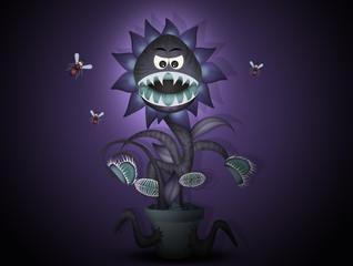 carnivorous plant in the dark