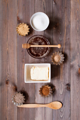 Ingredients for traditional sweets on the rustic wooden table