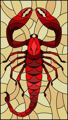 Illustration in stained glass style with abstract red Scorpion on brown background