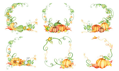 Watercolor pumpkin and autumn leaves wreath. Harvest composition. Happy Thanksgiving day. Hand drawn illustration