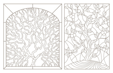 Set contour illustrations of stained glass with the image of the trees,dark outlines on white background