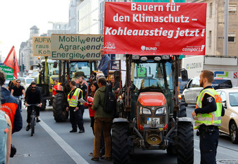 Protest against power supplier RWE open cast mining plans in Hambach, in front of the Federal Economic Ministry in Berlin