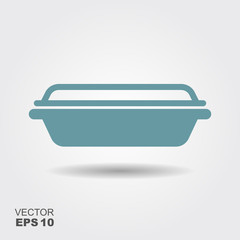 Glass food container. Flat vector icon with shadow