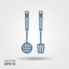 Kitchen tools on a hanger - spatula and skimmer