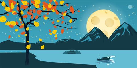Night landscape with autumn tree, falling leaves, mountains, lake, moon, stars, cartoon style, vector, illustration, isolated