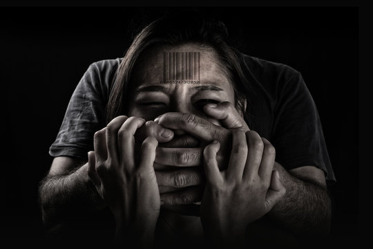 Human trafficking, Stop abusing violence woman, slave.