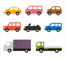 Tuinposter Cartoon cars cute shape car simple icon set. flat design style vector graphic illustration