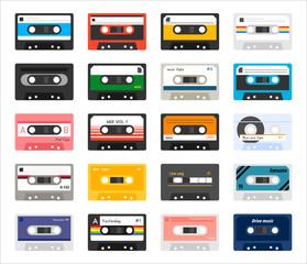 vintage cassette icon set. flat design style vector graphic illustration