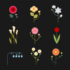 geometric flower icon set. flat design style vector graphic illustration