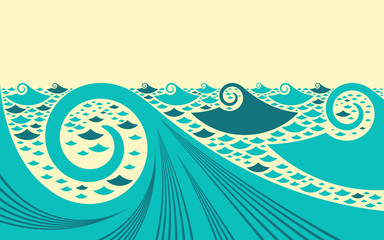 asian style graphic ocean landscape in blue and ivory shades