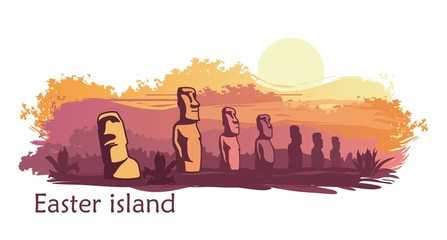 The landscape of Easter island with the famous sculptures at sunset