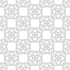 Vector illustration of seamless pattern of floral lines on white background.