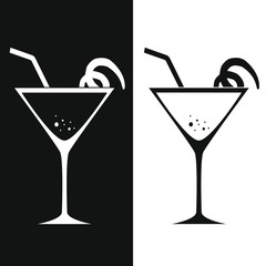 Glass of martini. Two-tone version on black and white background. Vector illustration