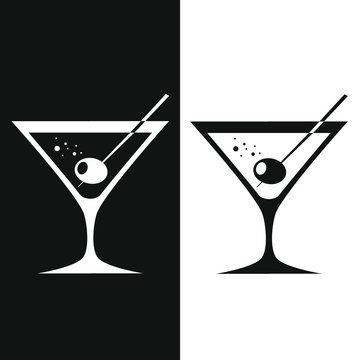 Glass of martini with olive. Two-tone version on black and white background. Vector illustration