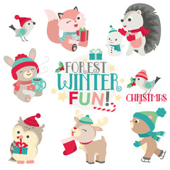 Cute Forest Animals in Winter Design Set Flat Vector Illustration Isolated on White