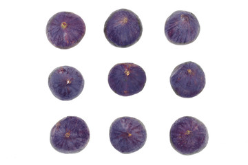 fig fruits isolated on white background.Top view. Flat lay pattern. Set or collection
