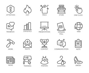 20 linear icons on the subject of online communication and shopping, work and business themes. Graphic pictogram for interfacing, advertising materials, web buttons. Vector illustration isolated