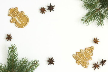 Branches of spruce, gingerbread and anise on white background. Christmas composition