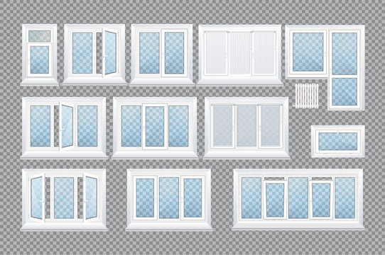Set of realistic glass transparent plastic windows with window sills.
