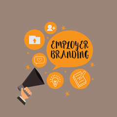 Writing note showing Employer Branding. Business photo showcasing Process of promoting a company Building Reputation.