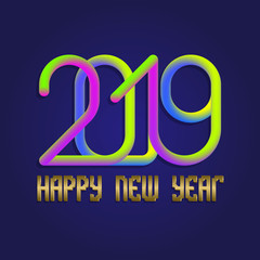 2019 Happy New Year colorful and golden lettering for greeting card design.