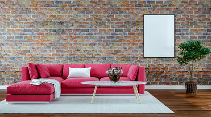 modern interior design living room, old brick wall, retro style
