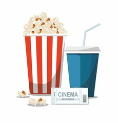 Cinema concept illustration with popcorn bowl,drink and tickets isolated on white background