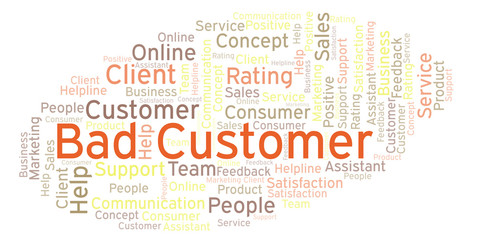 Bad Customer word cloud.