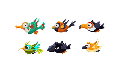 Cute cartoon colorful flying birds set, funny colorful little birds vector Illustration on a white background