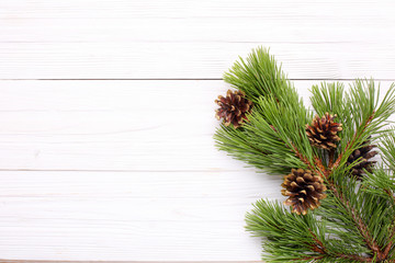 Christmas decorations, gilt cones on a pine branch on a white wooden background,  copy space