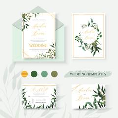 Wedding floral gold invitation card envelope save the date rsvp design