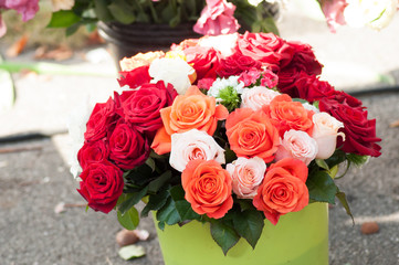 closeup of colorful roses bouquets at the market