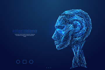 Robot. Artificial Intelligence. Head side view. Low poly blue. Blue polygonal abstract science illustration. In the form of a starry sky or space. Vector image of cyborg in RGB Color mode.