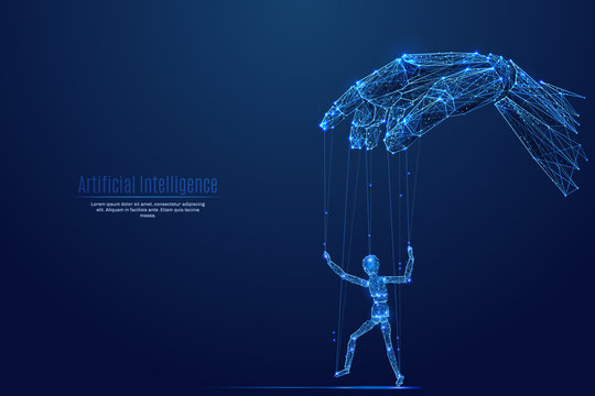 Robotic cyborg hand manipulating human puppet on dark background. Robot. Artificial Intelligence. In the form of a starry sky or space. Vector image in RGB Color mode. Future concept.