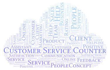 Customer Service Counter word cloud.