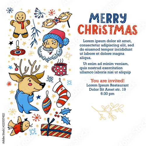 Christmas invitation, greeting card, banner design with cute doodle