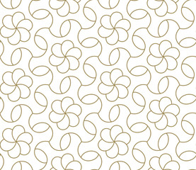 Modern simple geometric vector seamless pattern with gold line texture on white background. Light abstract floral wallpaper, bright tile backdrop.