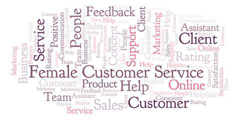 Female Customer Service word cloud.