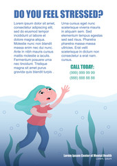 Girl, woman drowning in deep water, crying for help, depression, mental problem flyer, leaflet template design, flat vector illustration. Drowning woman, girl, depression, mental health flyer template