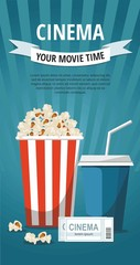 Cinema concept poster with popcorn bowl, drink and tickets isolated on blue background