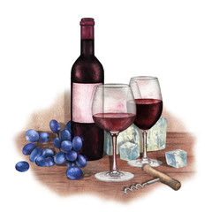 Two watercolor glasses of red wine, bottle, grapes, cheese and corkscrew