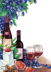 Watercolor wine glasses and bottles decorated with delicious food
