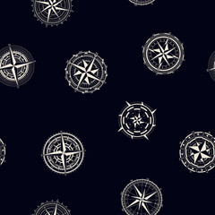 Seamless pattern with compass rose  for your design